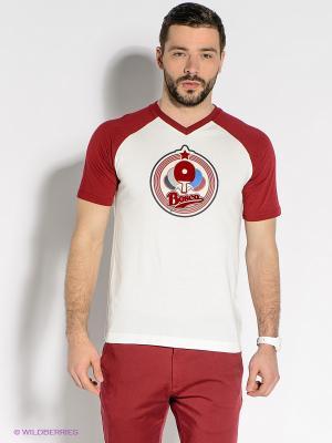 Футболка BOSCO. Цвет: белый, бордовый