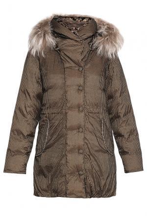 Парка-пуховик с капюшоном и отделкой из меха енота 139157 Cinellistudio. Цвет: коричневый