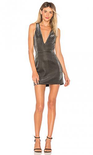 Мини платье charlie NBD. Цвет: металлический серебряный