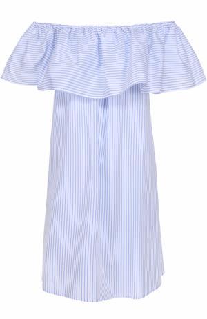 Хлопковое платье с открытыми плечами и оборкой Pietro Brunelli. Цвет: голубой