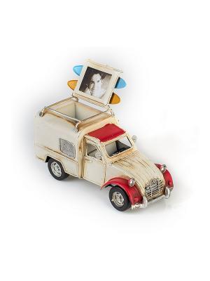 Модель Ретро Автомобиль белый с красным, фоторамкой и подставкой для ручек 4х5см PLATINUM quality. Цвет: белый, красный