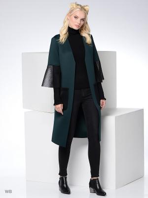 Пальто Colambetta. Цвет: темно-зеленый, черный