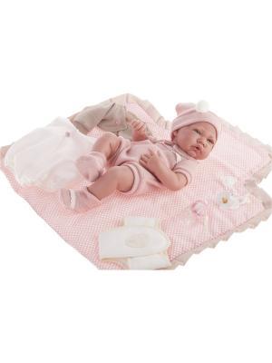 Кукла-младенец Кармелита,  с пеленальными принадлежностями, 42 см Antonio Juan. Цвет: розовый