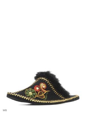 Тапочки войлочные Кукморский валяльно-войлочный комбинат. Цвет: черный, зеленый, красный
