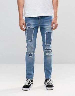 Brooklyn Supply Co. Умеренно выбеленные джинсы с заплатками Co. Цвет: синий