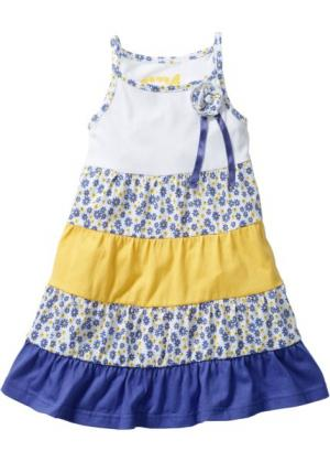 Платье (белый/лилово-синий/желтый тюльпан с рисунком) bonprix. Цвет: белый/лилово-синий/желтый тюльпан с рисунком