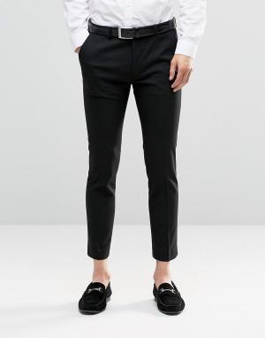 ASOS Черные укороченные облегающие брюки. Цвет: черный