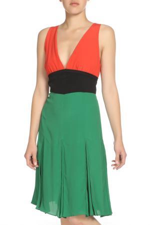 Платье со складками по юбке Marni. Цвет: комбинированный