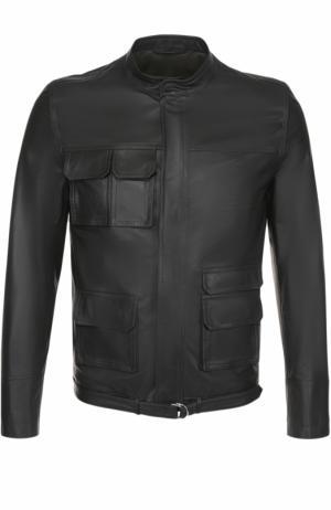 Кожаная куртка на молнии с воротником-стойкой Valentino. Цвет: темно-зеленый