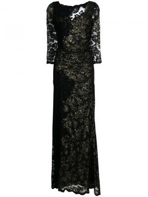 Расклешенное платье с кружевной вышивкой Olvi´S. Цвет: чёрный
