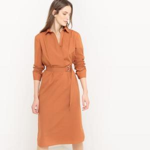 Платье-рубашка, 100% хлопок La Redoute Collections. Цвет: небесно-голубой