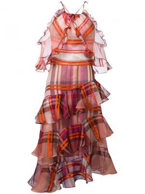 Клетчатое платье с отделкой оборками Daizy Shely. Цвет: жёлтый и оранжевый