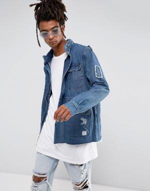 Cayler & Sons Синяя джинсовая куртка в стиле милитари. Цвет: синий