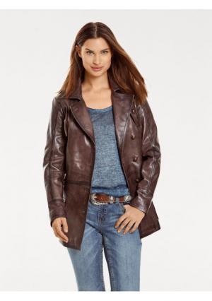 Кожаная куртка B.C. BEST CONNECTIONS by Heine. Цвет: коричневый, синий