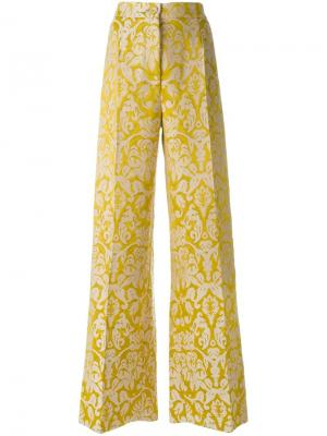 Жаккардовые брюки палаццо Erika Cavallini. Цвет: жёлтый и оранжевый