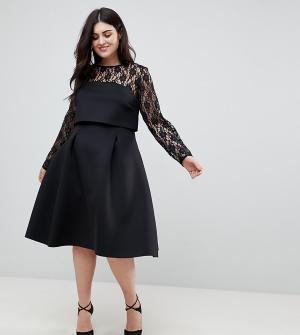 ASOS Curve Платье для выпускного с укороченным лифом и длинными кружевными рукава. Цвет: черный