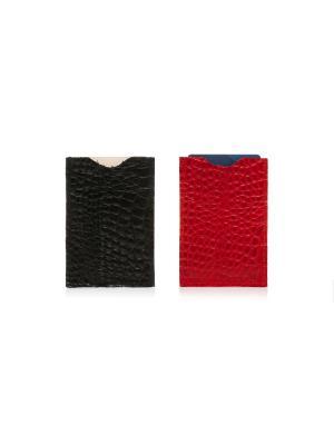 Комплект чехлов для карт Аллигатор Eshemoda. Цвет: черный, красный
