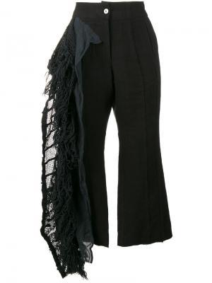 Укороченные брюки с бахромой By Walid. Цвет: чёрный