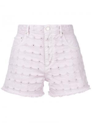 Джинсовые шорты с вышивкой Isabel Marant Étoile. Цвет: розовый и фиолетовый