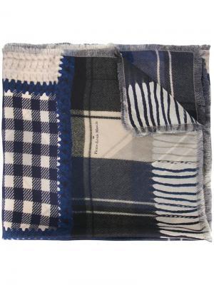 Лоскутный шарф Pierre-Louis Mascia. Цвет: синий