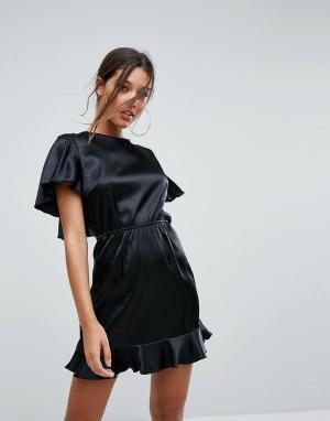 Lioness Платье мини с расклешенными рукавами. Цвет: черный