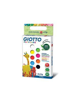 GIOTTO PATPLUME пластилин. 8 цв х 33 гр Флуорисцентные цвета FILA. Цвет: белый, зеленый, желтый