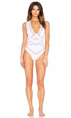 Слитный купальник bane OYE Swimwear. Цвет: белый