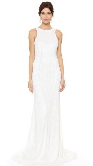 Вечернее платье Charlote с низким вырезом сзади и бусинами Theia. Цвет: золотой
