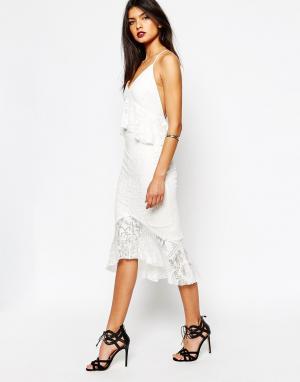 Bec & Bridge Кружевное платье миди Marvel. Цвет: белый