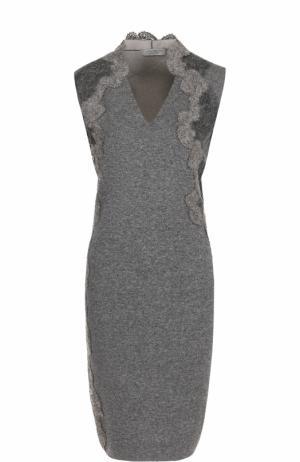 Вязаное платье-футляр с кружевной отделкой D.Exterior. Цвет: темно-серый