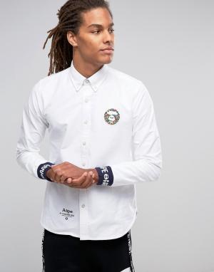 AAPE BY A BATHING APE Рубашка классического кроя с логотипом. Цвет: белый