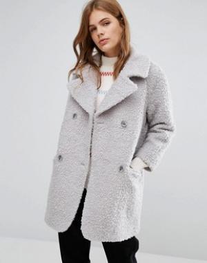 YMC Пушистое двубортное пальто-кокон. Цвет: серый