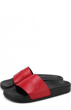 Кожаные шлепанцы Cloud с логотипом бренда Balmain. Цвет: красный
