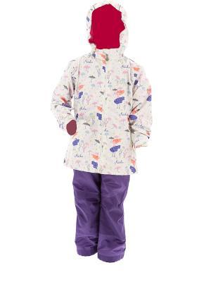 Комплект для девочки  (куртка+полукомбинезон) REIKE. Цвет: белый, фиолетовый