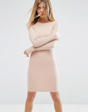 ASOS Облегающее платье мини в рубчик с длинными рукавами. Цвет: розовый