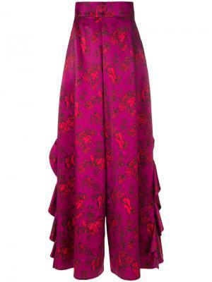 Брюки с оборками и цветочным принтом Alistair James. Цвет: розовый и фиолетовый