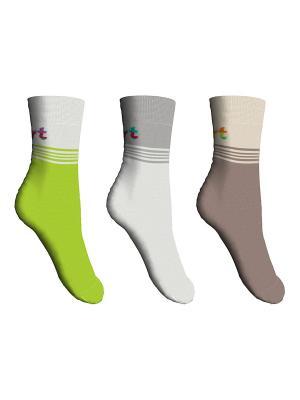 Носки, 3 пары Master Socks. Цвет: салатовый, светло-коричневый, белый