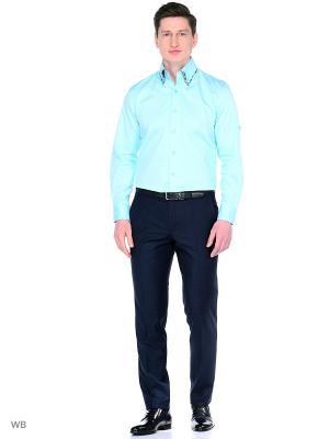 Рубашка Манжет Запонки/Пуговица WHITE CUFF. Цвет: бирюзовый