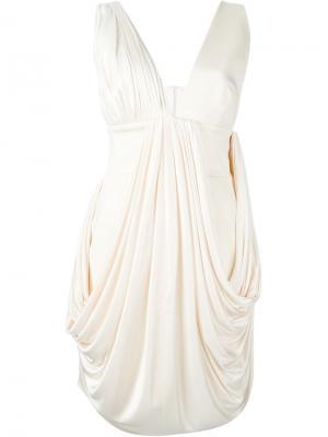 Платье c V-образным вырезом Fausto Puglisi. Цвет: белый