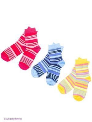Носки детские, 3 пары БРЕСТСКИЕ. Цвет: темно-бордовый, голубой, желтый