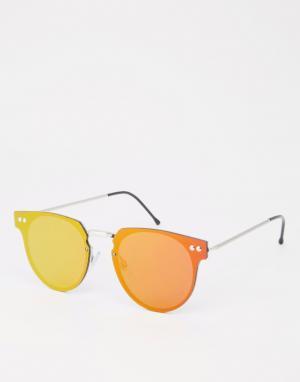 Spitfire Круглые солнцезащитные очки с зеркальными линзами Cyber. Цвет: красный