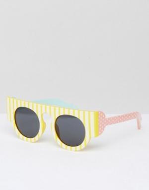 Le Specs Солнцезащитные очки в полоску. Цвет: желтый
