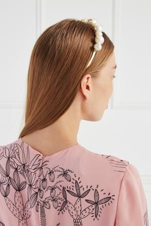 Ободок с жемчужными бусинами Lisa Smith. Цвет: золотой