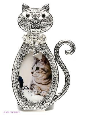 Минирамка-сувенир кошка, металлическая со стразами, формата 5х7,5см PLATINUM quality. Цвет: серебристый