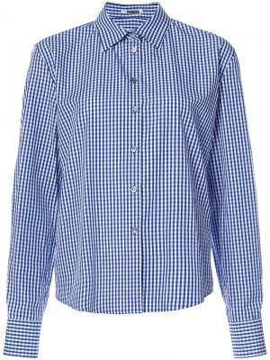 Клетчатая рубашка с разрезами на рукавах Jourden. Цвет: синий