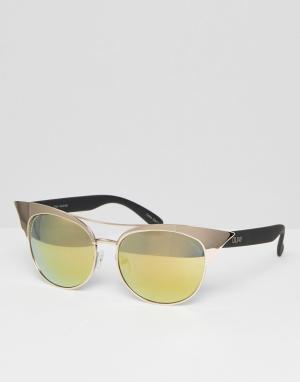 Quay Australia Зеркальные солнцезащитные очки кошачий глаз Zig. Цвет: золотой