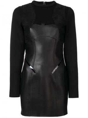 Платье с длинными рукавами и вставками Dsquared2. Цвет: чёрный