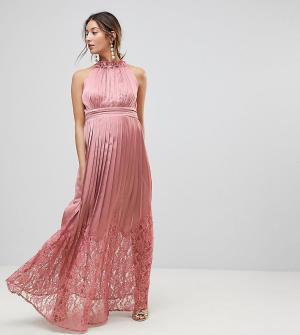 Little Mistress Maternity Платье макси с высоким воротом-оборкой и плиссированной юбкой M. Цвет: розовый
