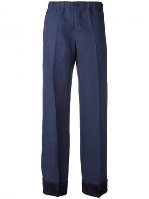 Классические брюки прямого кроя F.R.S For Restless Sleepers. Цвет: синий