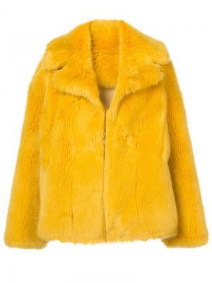 Шуба из искусственного меха Dvf Diane Von Furstenberg. Цвет: жёлтый и оранжевый